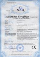 Сертификат соответствия директивам Евросоюза (СЕ) машины МОК-150М, МОК-300М, МОО-1, МОО-1-01